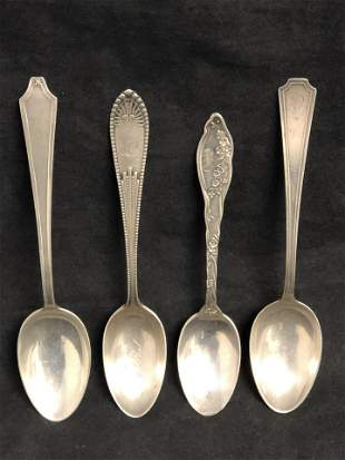 (4)Antique Sterling Teaspoons, Gorham, More -