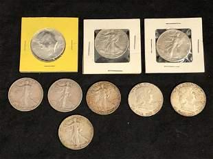 (9)Half Dollars,Walking Liberty,Kennedy,Franklin -