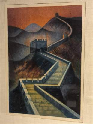 Signed #d  Louis Toffoli Lithograph - Great Wall of
