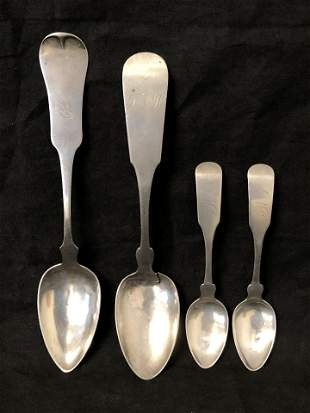 (4)Antique Coin Silver Spoons, 112.2g Total - (2)8.5