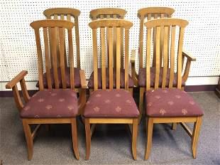 (6)Modern Slat Back Curved Chairs - Pick Up or Arrange