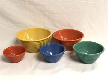 (5)Vtg Bauer Ringware Mixing Bowls - 9.5'' x 4.5'' to