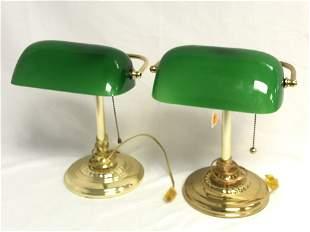 Pr. 13'' Tall Emeralite / Banker Desk Lamps