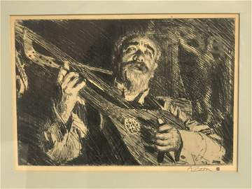 (1860-1920)Anders Zorn Etching ''Vicke'' - Framed