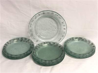 (10)Annie Glass Plates, (1)Bowl - Native American Style