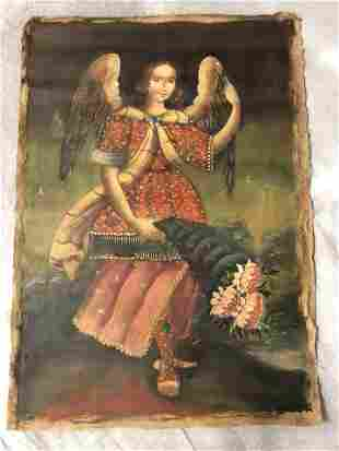 Spanish Colonial Religious Oil on Cloth, 17''x24''