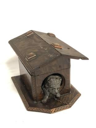 Victorian Wood Dog House Tabacco Box - 6'' x 4.5'' x