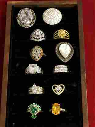 (12)Asst Sterling Silver Rings, Various Stones - Sz