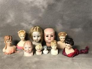 Asst Vtg Porcelain Doll Heads - Various Sizes, Grace