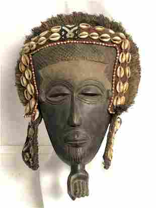 Carved & Beaded African Headdress - Approx. 10.5'' x