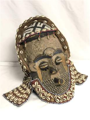 Carved & Finely Beaded African Headdress - 10'' x 13''