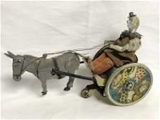Antique Lehmann Tin Clown & Donkey Wind-up - Winds,