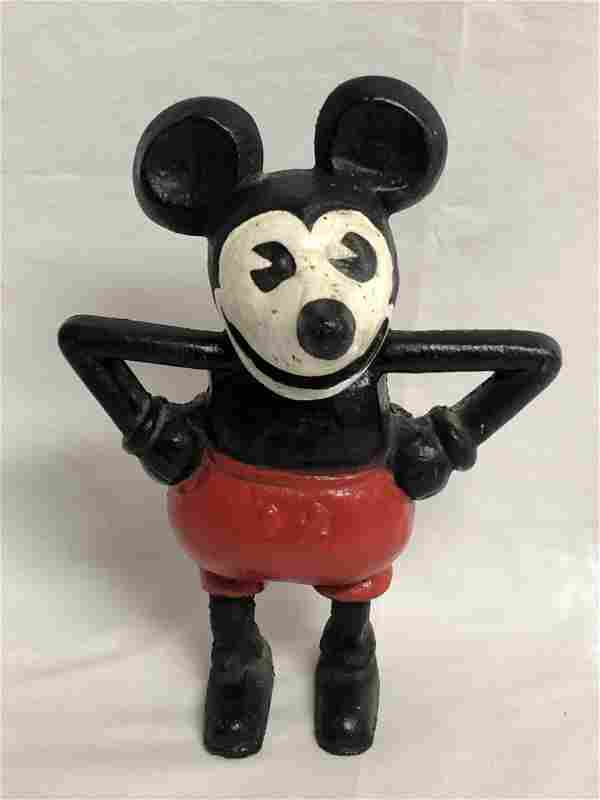 1930s Cast Iron Mickey Mouse Mortimer Bank - 6'' x