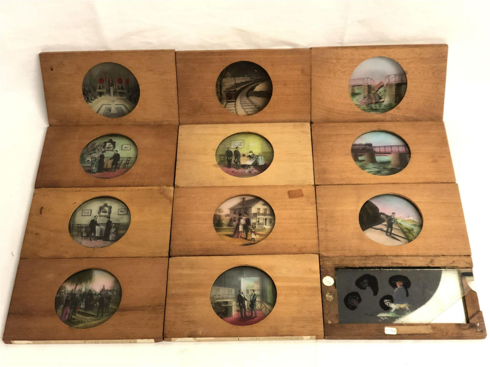Atq M.C. Lilley Glass Painted Lantern Slides - (11)Asst
