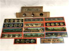 (15)Asst Antique Magic Lantern Slides - Children, Ships