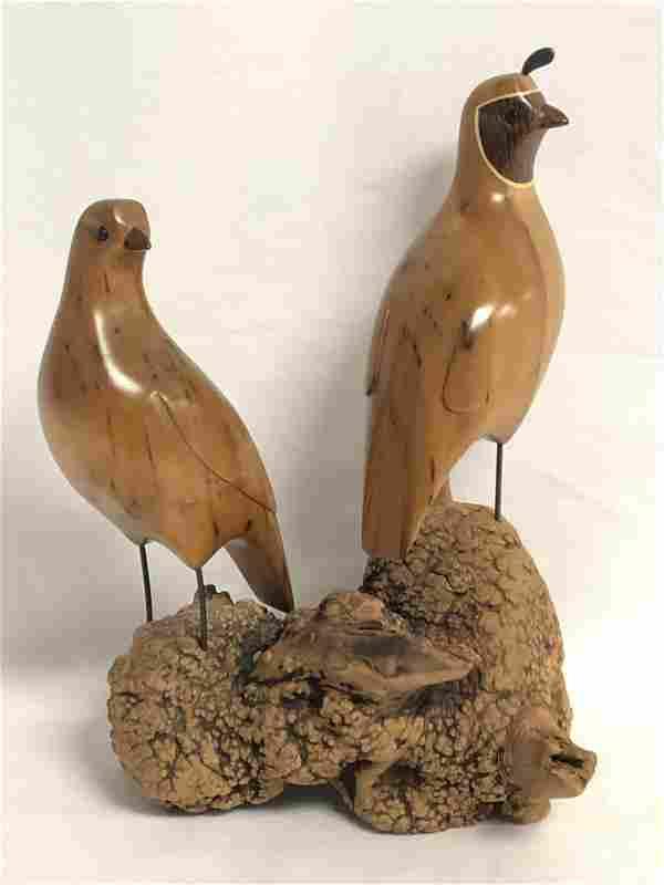 Signed Gordon Stennett Carved Quail Figure - CA Artist
