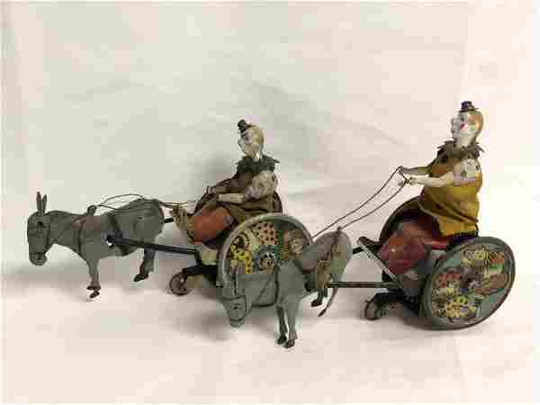 (2)Antique Lehmann Tin Clown & Donkey Wind-up - (1)