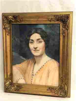 Signed Watercolor Portrait in Gilt Frame - Framed 21''