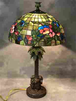 Monkey w/ Palm Tree Base Stained Glass Lamp - Hear ,