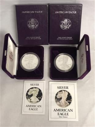 (2)American Silver Eagle .999 Silver Coins, COA - 1986