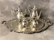 5pc Wallace Baroque Silverplated Tea/Coffee Set -