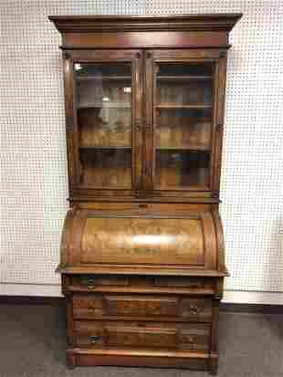 Atq Roll Top Hutch w/ Original Glass - (3)Shelves &
