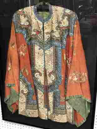 Framed Antique Kimono Garmet - Embroidered Detail,