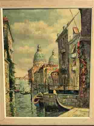 Vtg Signed Oil on Canvas of Venice - Framed 20'' x 24''