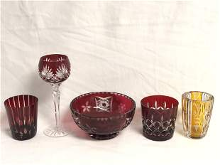 Ruby Red & Amber Cut to Clear Pieces - Amber Vase