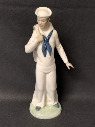 Nao by Lladro Sailor Figure w/ Sea Bag, 11.5'' Tall