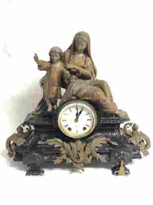 Atq Seth Thomas & Sons Madonna w/ Child Clock - 1870s