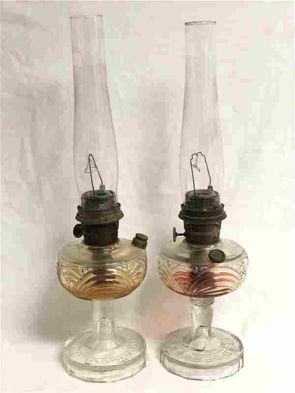 Pr 1930s Aladdin Oil Lamps, Model B, 24'' Tall -