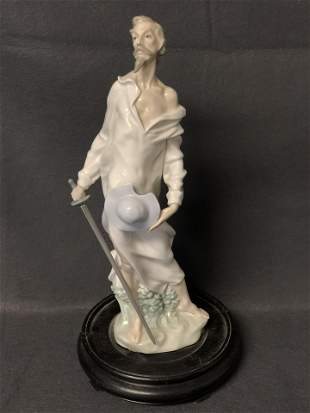 Nao by Lladro Don Quixote Figure w/ Sword - On Wooden