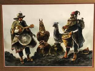 Signed ''Castillo'' Peru Watercolor - Framed 24'' x
