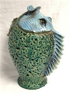 Glazed Pottery Fish Statue, 12'' x 17.5''
