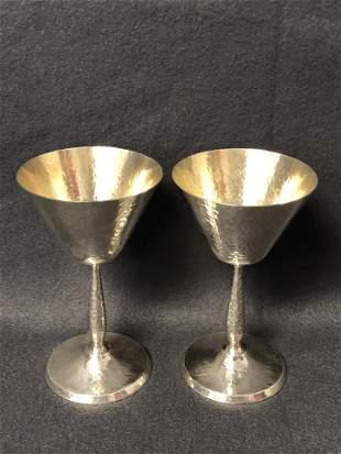 2 Sterling Shreve & Co. Hand Hammered Goblets - Total