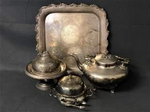 Victorian Silverplate Cow Butter, Tea, Sugar - Sugar