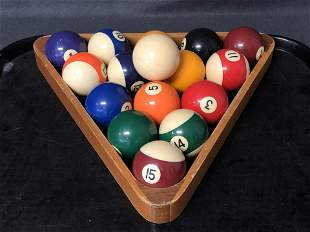 Vintage Billiards Balls w/ Rack