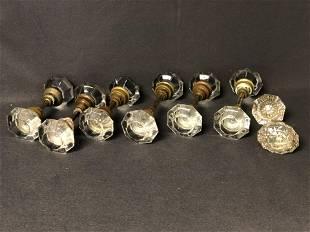 (14)Antique Glass Door Knobs w/ Brass - (6) Sets w/