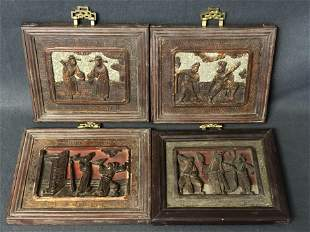 (4)Chinese Carved Wood Panel Plaques - HandCarved