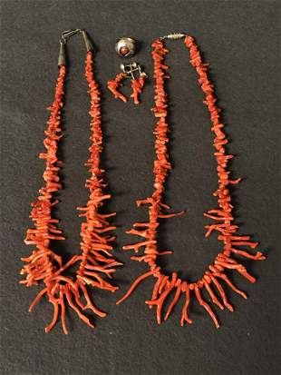 Branch Coral Necklaces, Sterling Ring,Earrings -