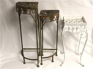 (3)Metal Plant Stands - (2) are Matching 11.75'' x 9''