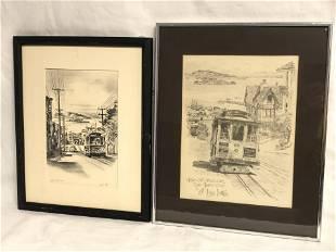 Alec Stern San Francisco Etching, Print - Signed