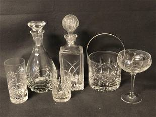 Crystal & Glass Lot -Decanters, Ice Bucket,More -
