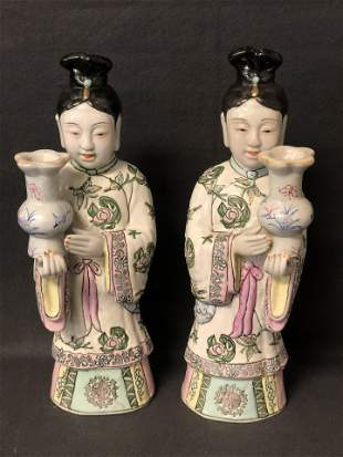Pr Chinese Figural Candle Holder - 13.5'' Tall