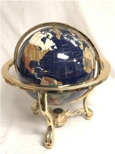 Lapis Gemstone World Globe w/ Compass - Approx 20''