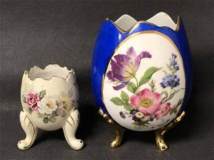 Signed Limoges & #d Handpainted Egg Vase - Limoges