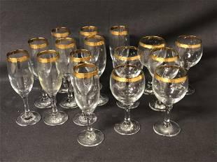 16pcs Gold Rimmed Stemware - (10)7.25'' Tall Flutes,