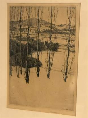 (1861-1933)Charles Platt Signed Etching - Framed 14.5''