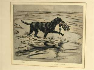 Signed Henry Wilkinson Colored Etching - 'Hunting Dog'